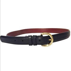 Vintage Coach black leather brass buckle belt